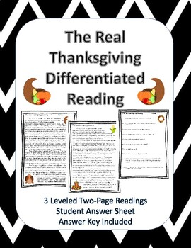 The Real Thanksgiving Differentiated Reading Passages