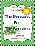 The Reasons For The Seasons by Gail Gibbons- Book Response Journal,Close Reading