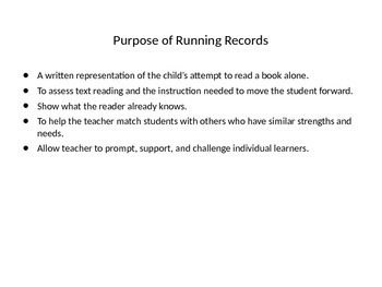 The Reasons for Running Records powerpoint
