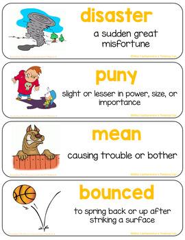 The Recess Queen Vocabulary Cards (Unit 2 Module A ReadyGen Grade 1)
