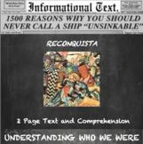 The Reconquista:  Informational Text Homework Worksheet