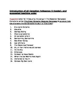 The Recorder Songbook Workshop - Teaching Order