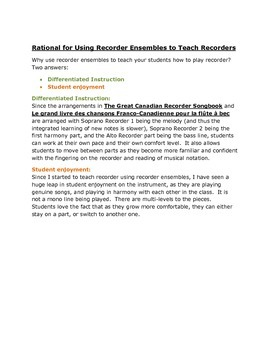 The Recorder Songbook Workshop - Rationale