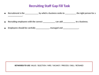 The Recruitment Process - People in Business - Stages of Recruitment