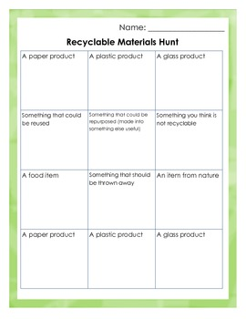 The Recyclable Products Game
