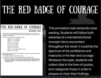 The Red Badge of Courage Annotating Task - Charting Psychological Behavior