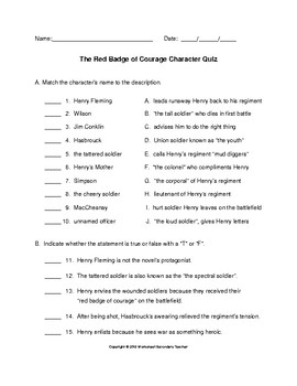 The Red Badge of Courage Character Quiz with Answer Key