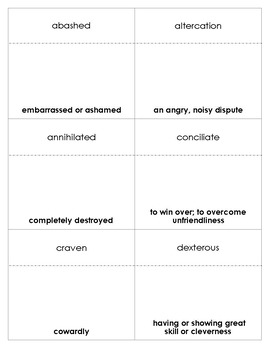The Red Badge of Courage Vocabulary Bingo