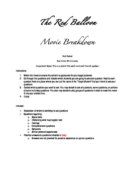 The Red Balloon-Questions and Breakdown