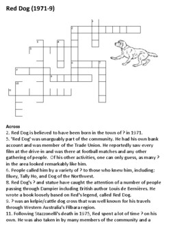 The Red Dog Story Crossword