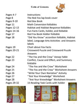The Red Fox Lap Book or Center Activity Cross-Curriculum
