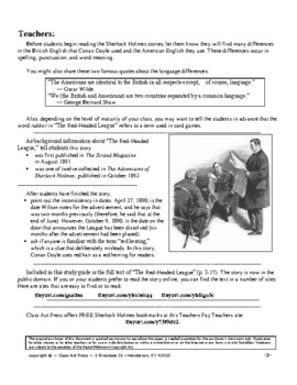 The Red-Headed League: Sherlock Holmes Close Reading Study Guide