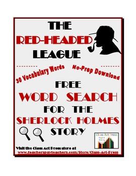 """Sherlock Holmes: """"The Red-Headed League"""" Word Search Freebie"""