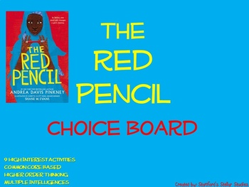 The Red Pencil Choice Board Tic Tac Toe Novel Activities A