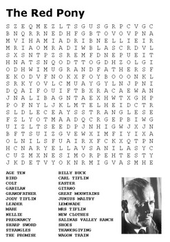 The Red Pony Word Search