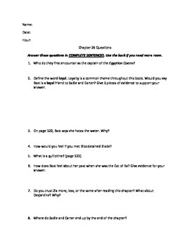 The Red Pyramid Chapter 26 questions