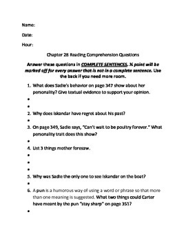 The Red Pyramid Chapter 28 Reading Comprehension Questions