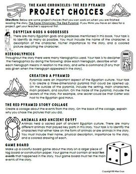 The Red Pyramid Novel Project Activities