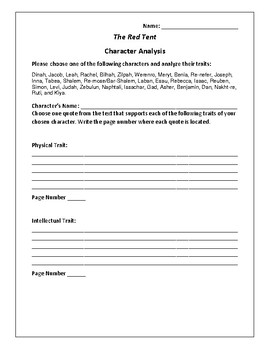 The Red Tent Character Analysis Activity - Anita Diamant