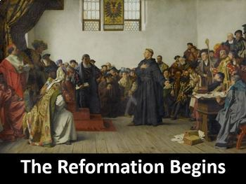 The Reformation Begins Power Point with Printable Student Notes & Worksheet