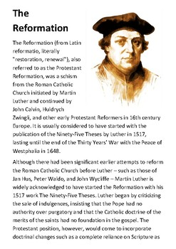 The Reformation Handout