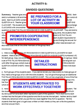 The Reformation: Interdependent Divided Questions Activity