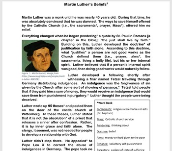 The Reformation: Martin Luther Essay Assignment