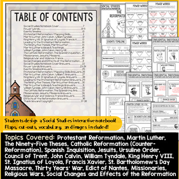 The Reformation (Protestant and Counter Reformation) Interactive Notebook