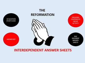 The Reformation: Interdependent Answer Sheets Activity