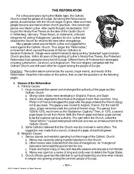 The Reformation, WORLD HISTORY LESSON 56 of 150, Activity & Quiz