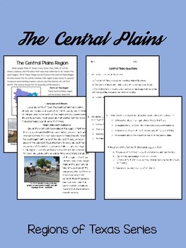 The Regions of Texas: The Central Plains- Integrating Reading and SS