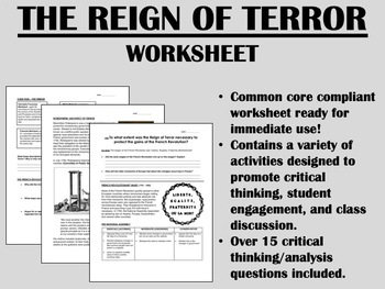The Reign of Terror worksheet - French Revolution Global History Common Core