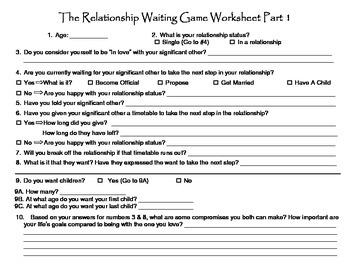 The Relationship Waiting Game Worksheet