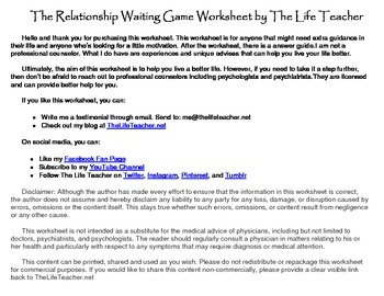 The Relationship Waiting Game Worksheet