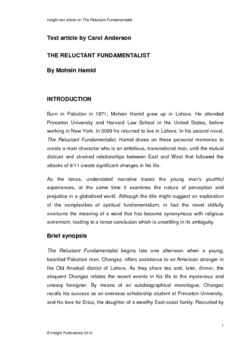The Reluctant Fundamentalist Insight Text Article