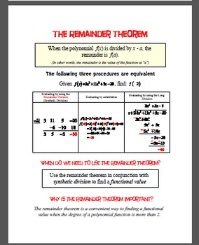 The Remainder Theorem