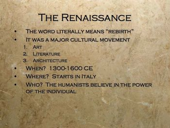 The Renaissance PowerPoint for High School World and European History