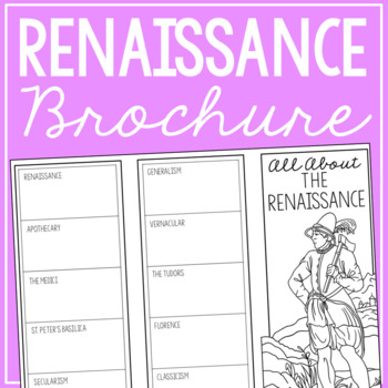 THE RENAISSANCE Research Brochure Template, World History Project