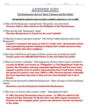The Renaissance Review Sheet