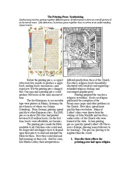The Renaissance: The Printing Press: Synthesizing