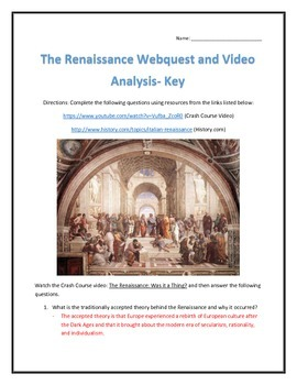 The Renaissance- Webquest and Video Analysis with Key