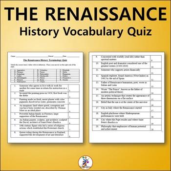 The Renaissance World History Vocabulary Quiz and Word List