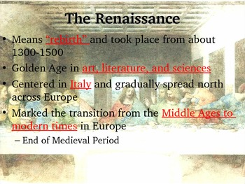 The Renaissance and Scientific Revolution Guided Notes