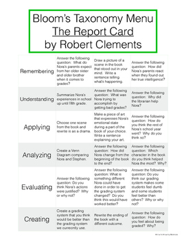 The Report Card - Bloom's Taxonomy Menu