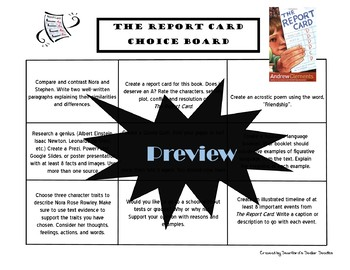 The Report Card Choice Board Novel Study Activities Menu Book Project