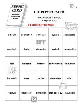 The Report Card Vocabulary Bingo