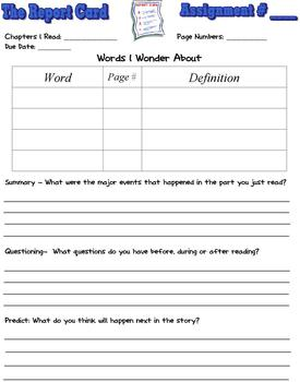 The Report Card by Clements Reading Response Literature Circle Packet