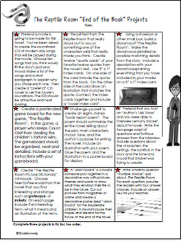 The Reptile Room Novel Study and Project Menu (A Series of Unfortunate Events)