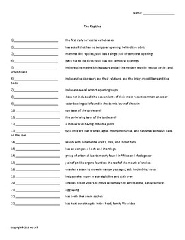 The Reptiles Vocabulary Quiz or Worksheet for Zoology