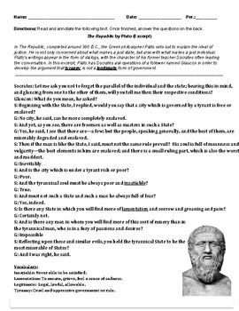 The Republic by Plato (Primary Source & Graphic Organizer)